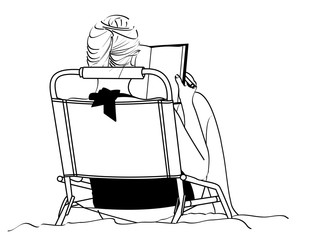 A line drawing of an young woman studying as she sits in a beach chair