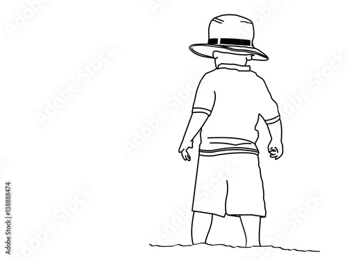 a line drawing of a small boy standing on the beach wearing his