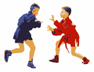Two Young Boys Competing In A Sport Sambo Contest