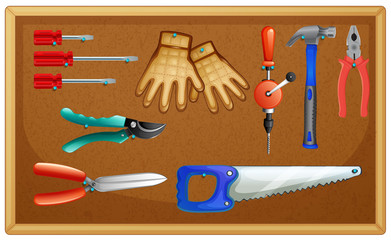 Different types of tools on board