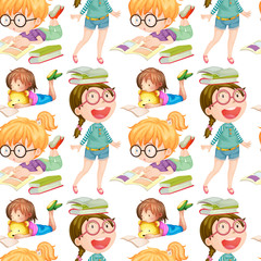 Seamless background with girls reading books