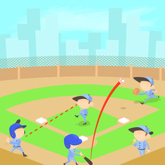 Baseball concept, cartoon style
