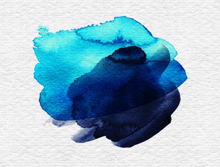 Blue colorful watercolor hand drawn stroke