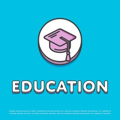 Education colour round icon isolated vector illustration. Mortar board or graduation cap symbol. High school education concept, college, university logo or sign in line design.