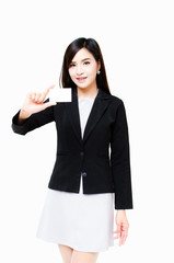 Businesswoman with Blank Business Card on White