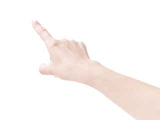 female's hand with one finger pointing upward