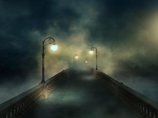 Fantasy bridge in the fog Wall mural
