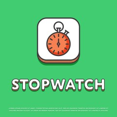 Stopwatch colour square icon isolated vector illustration. Sport watch timer, stopwatch symbol. Athletic competition, sport equipment, time management logo or sign in line design.