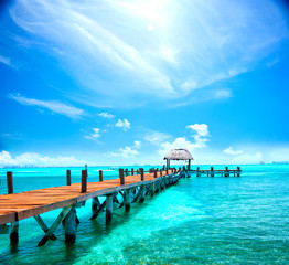 Exotic tropical resort. Jetty near Cancun, Mexico. Travel, Tourism and Vacations Concept