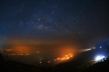 Milky way galaxy at Phutabberk Phetchabun in Thailand.Long exposure photograph.With grain