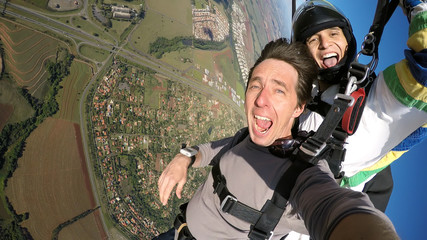 Self portrait tandem paragliding