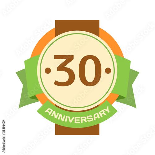"30 Year Anniversary Symbol: ""Birthday Thirtieth Badge Banner Design Flat Celebration"