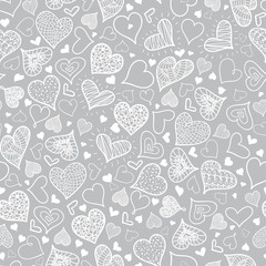 Vector Silver Grey Doodle Hearts Seamless Pattern Design Perfect for Valentine s Day cards, fabric, scrapbooking, wallpaper.