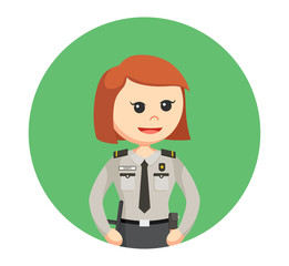 security officer woman standing pose in circle background