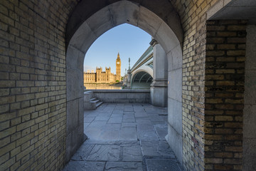 View of Big Ben through the pedestrian tunnel in London, England