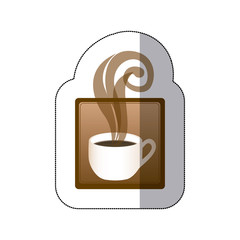 brown squard symbol of coffee cup, vector illustraction design image