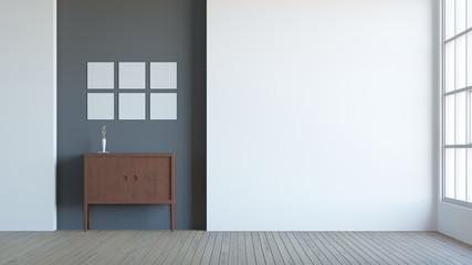 Modern interior composition of blank frame / 3d render image