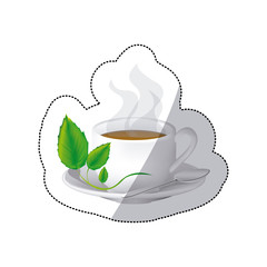color coffee cup with steam and leaves in the plate, vector illustraction
