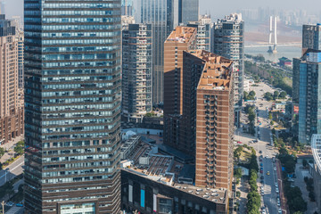 modern business buildings in financial district in city of China.