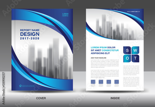 Brochure Template Layout Blue Cover Design Annual Report Magazine