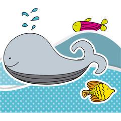 color aquatic animals in the sea icon, vecto illustraction design image