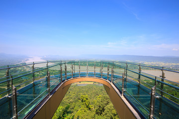 Transparent sky walk at Wat Pha Tak Suea in  Nong Khai province