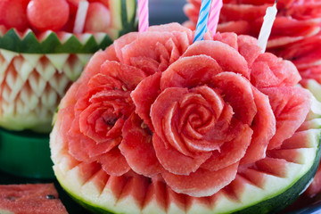 Watermelon carved into flowers