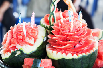 Watermelon carved into flower