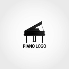 Piano Logo Design Template. Vector Illustration