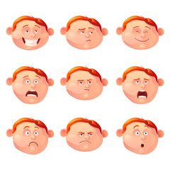 Vector illustration of the red-haired boy and his emotions.