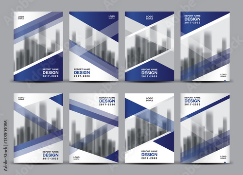 Business Vector Set Brochure Template Layout Blue Cover Design - Company profile brochure template