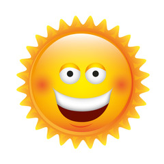 yellow sticker happy sun icon, vector illustraction design