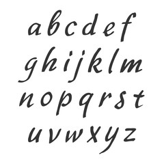 Vector handwritten alphabet. Lowercase letters. Brush script. Modern Brushed Lettering.