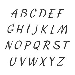 Vector handwritten alphabet. Uppercase letters. Brush script. Modern Brushed Lettering