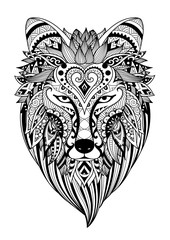 Zendoodle stylize of dire wolf for tattoo, T-Shirt design, mug design,adult coloring book page and other design element  Stock Illustration