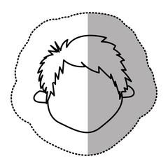 contour sticker face boy icon, vector illustraction design image