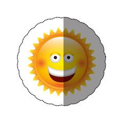 color sticker happy sun icon, vector illustraction design