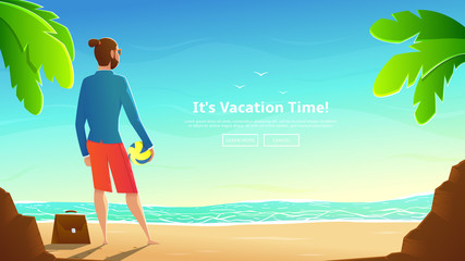 Businessman in shorts with volleyball ball stands on beach. Vector illustration with cartoon man in jacket with briefcase. Beautiful landscape of summer sea with palm trees. Concept of web banner.