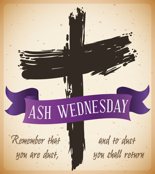 Beginning of Lent with Ash Wednesday Cross with Ribbon, Vector Illustration