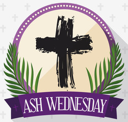 Round Button for Ash Wednesday with Cross, Palms and Ribbon, Vector Illustration