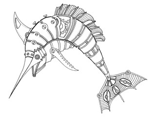 Steampunk style swordfish coloring book vector