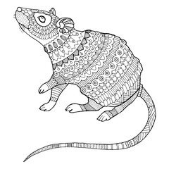Mouse coloring book vector illustration