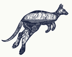 Kangaroo double exposure tattoo art. symbol of Australia, travel and tourism