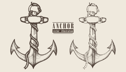 Vintage anchor hand drawn illustration.  Ships anchor and rope graphic collection