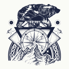 Bear double exposure, mountains, compass, tattoo art. Tourism symbol, adventure, great outdoor