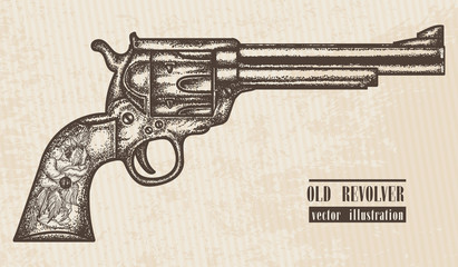 Gun revolver vintage graphic hand drawn vector. Old revolver engraved style