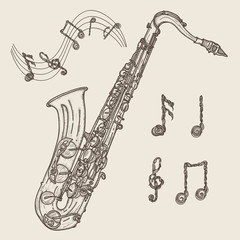 Saxophone and music notes, vintage hand drawn illustration. Classical saxophone drawing