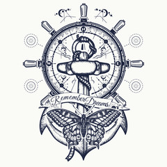 Anchor, steering wheel, butterfly, tattoo art.  Symbol of freedom, marine adventure tourism
