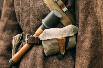 Granate close-up on a Soviet overcoat