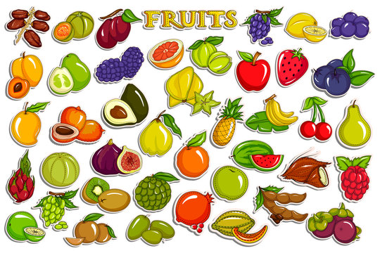 Sticker collection for fresh and healthy assorted fruit